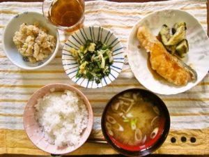 2017年9月14日の献立 ひつじ雲の献立:魚の照り焼き おから煮 三味和え ご飯 味噌汁 (蒸しパン)